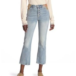Free People High Rise Novelty Straight  Crop Jean
